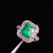 Fine Jewelry Real 18K Yellow Gold 1.52ct Colombia Emerald Ring Natural Diamond for Men and Women Party(China)