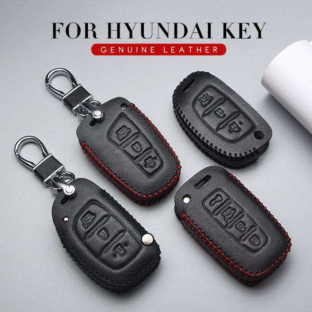 KUKAKEY Genuine Leather Car Key Case Cover Car Styling For Hyundai Solaris I30 IX35 Accent Getz Elantra Santa fe Key Bag Holder