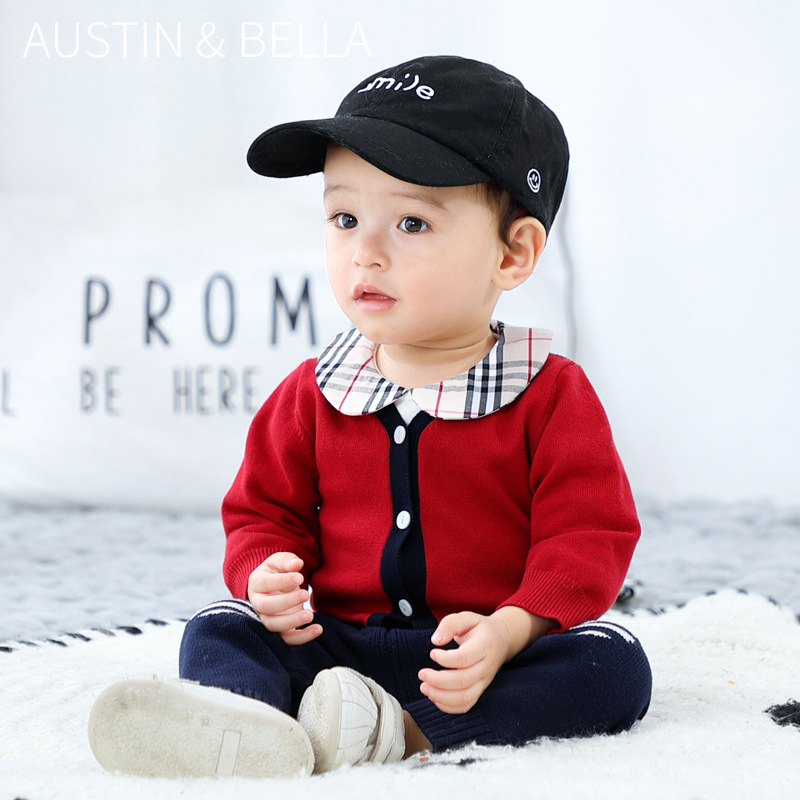 3-24M Baby Cardigan Boy Knitwear Spring and Autumn Pure Cotton Jacket Red and Blue Patchwork Toddler Sweater Infant Clothes