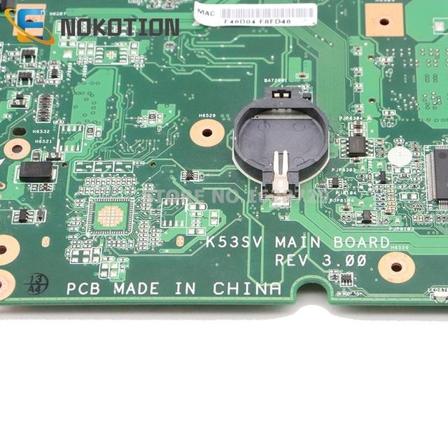 NOKOTION K53SV placa principal REV: 3,0/3,1 para ASUS K53SV A53S K53S X53S P53S K53SC K53SJ K53SM placa base de computadora portátil GT540M 1GB