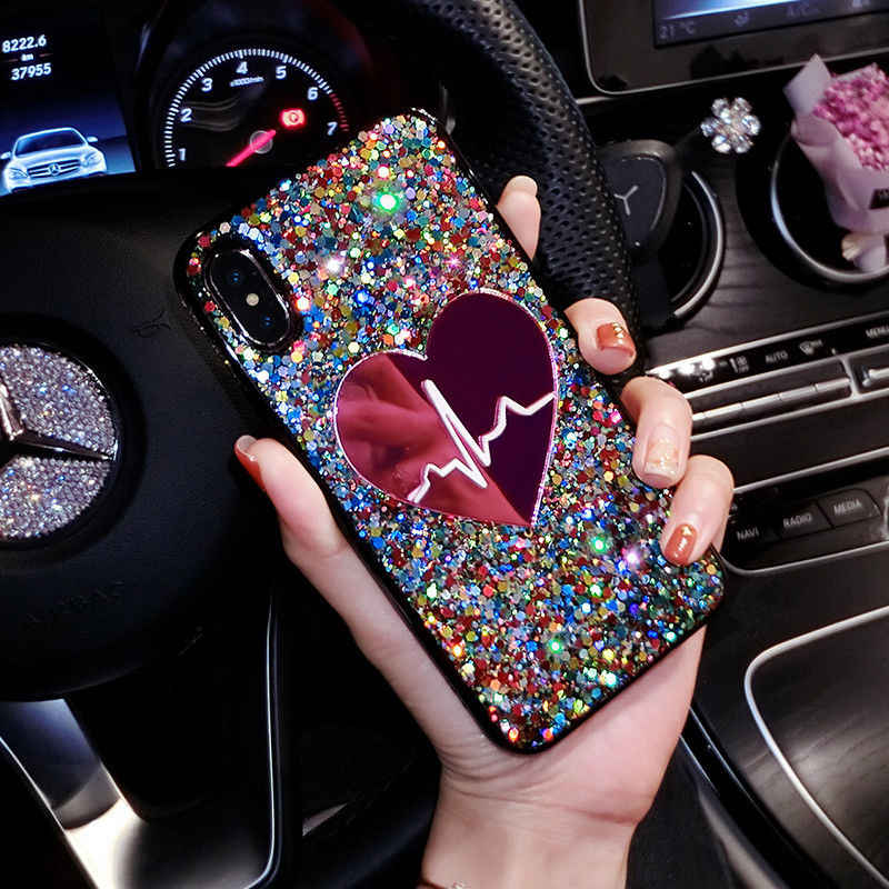 Bling Glitter Colorful Phone Case For iPhone 6 S 6S 7 8 Plus Luxury Cute Love Heart Soft Silicone Cover For iPhone X Woman Case