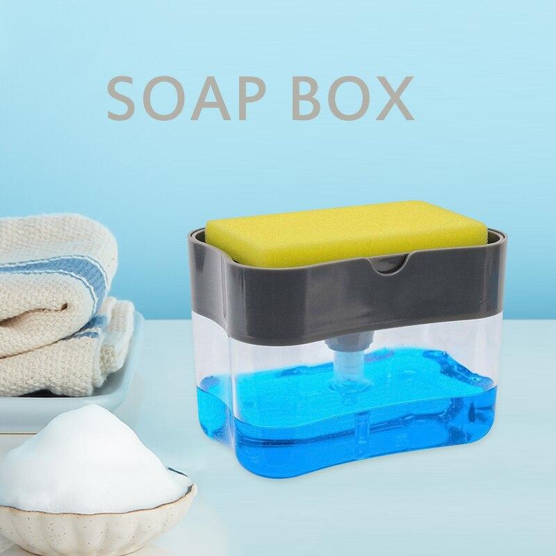 Kitchen Organiser Sink Caddy Basket Dish Cleaning Sponge Holder Soap Dispenser Soap Pump Sponge Press Liquid Soap Dispenser