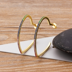 New Arrival Shiny Rhinestone Heart Hoop Earrings For Women Jewelry Fashion Ladys' Statement Earrings Accessories Charm Gifts