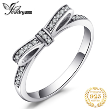 Купить с кэшбэком JewelryPalace Bowknot Cubic Zirconia Ring 925 Sterling Silver Rings for Women Stackable Ring Silver 925 Jewelry Fine Jewelry