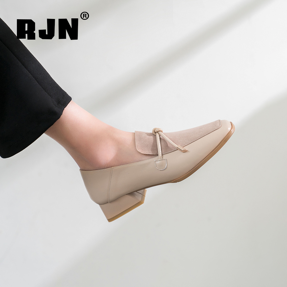 New RJN Comfortable Square Heel Pumps High Quality Cow Leather Square Toe Slip-On Shoes Butterfly-Knot Decoration Women Pumps RO04