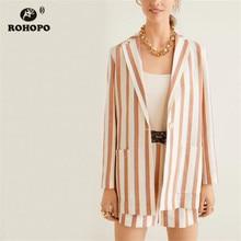 ROHOPO Cotton Linen Women Yellow Blue Vertical Stripe Blazer Side Pockets Single Button Slimly veste #27347