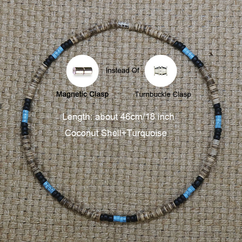 SALE Natural Stones Turquoise Gift for Men Mens Gemstone  Beaded Necklace Coconut Shell Beads,Wooden Cross Mens Necklace,Ethnic Necklace