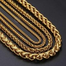 Davieslee Halskette für Männer Herren Edelstahl Kette Halsketten Weizen Link Gold Silber Schmuck 18-24 zoll 3-6mm DLKNM136