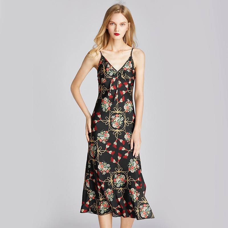 Ukii strap camisola de seda verão sexy sleepwear longo camisola sexy cetim nightwear floral dormir vestido preto noite