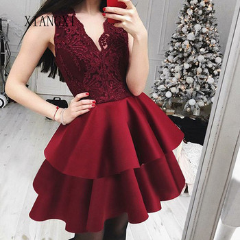 Elegant Burgundy Homecoming Dresses Short Party Gowns V-Neck Sleeveless Above Knee Mini Prom Dress Graduation Gowns 2020 light sky blue lace graduation short prom dresses bateau neck satin ruched mini homecoming party cocktail dress for girls