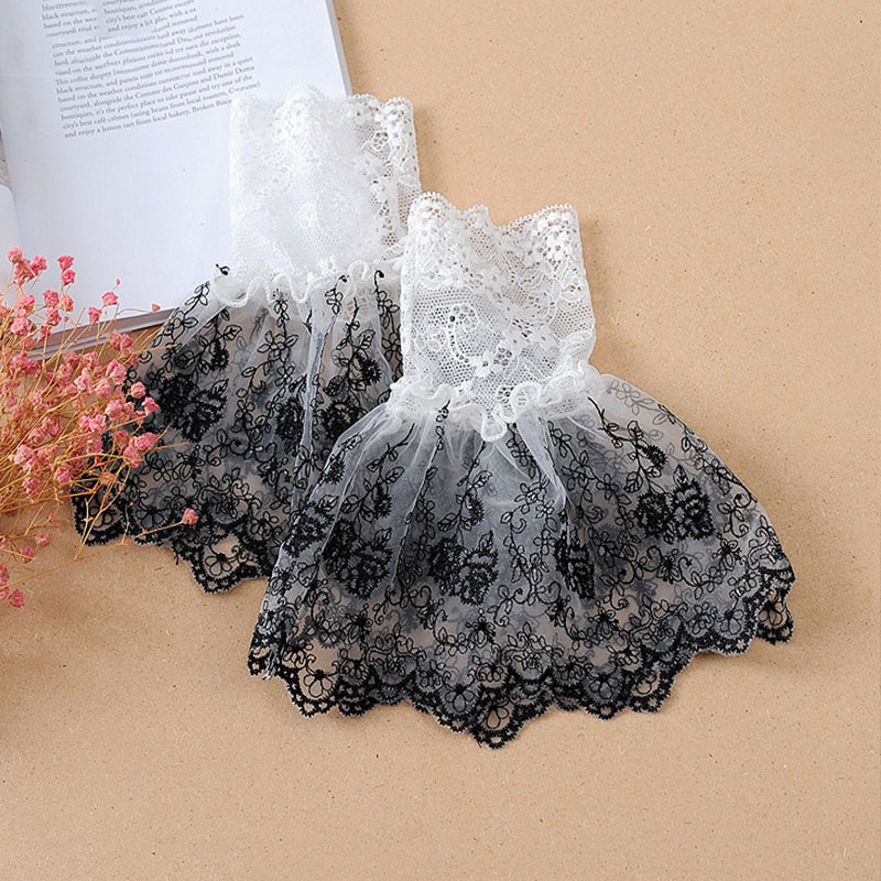 White Lace Fake Sleeves Women For Sweater Decorative Fake Cuffs Sleeves Wedding Lace Flounces Pleat Buttoned Wrist False Sleeves