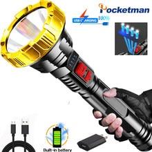 Pocketman 80000lm lanterna tática lanterna de longo alcance tocha usb recarregável lanterna de acampamento à prova dwaterproof água
