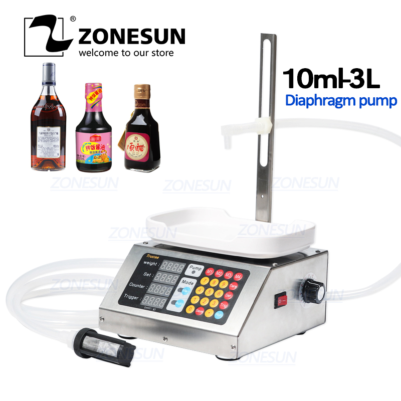 ZONESUN Semi Automatic Beverage Mineral Water Milk Drink Bottle Filler Liquid Weight Gravity Gear Pump Perfume Filling Machine