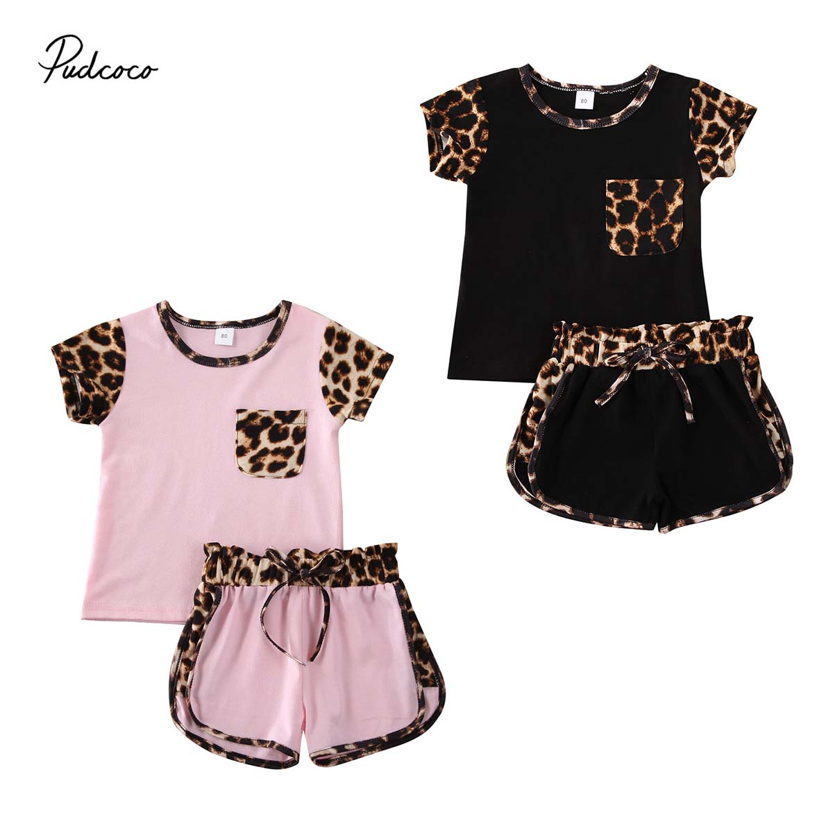 2020 Baby Summer Clothing 1-6Y Toddler Kid Baby Girl Short Sleeve Leopard Tops Shirt Short Pants Outfit Clothes Set 2PCS