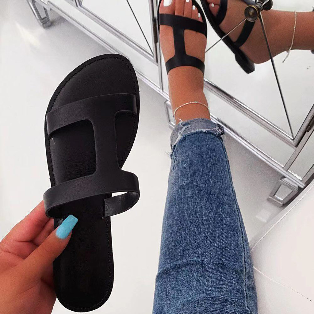 Home Women's Sandals Roman Flat Slippers Casual Shoes Beach Sandals Woman Slip On Flats Female Pvc Black Soild Sandales Plates