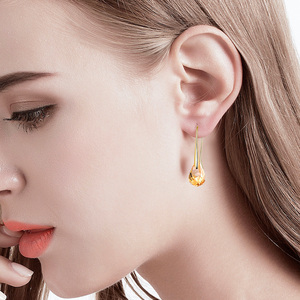 Image 2 - Original Crystal From SWAROVSKI Helix Pendant Drop Earrings For Women Fashion Gold Color Pendant Dangle earrings Jewelry Gift
