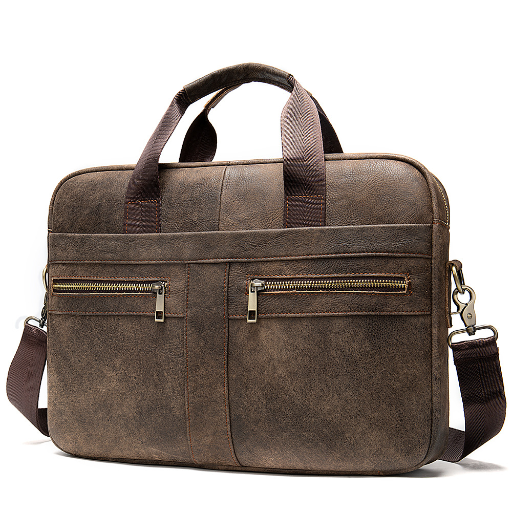 Men Cowhide Luxury Leather Briefcase 15.4