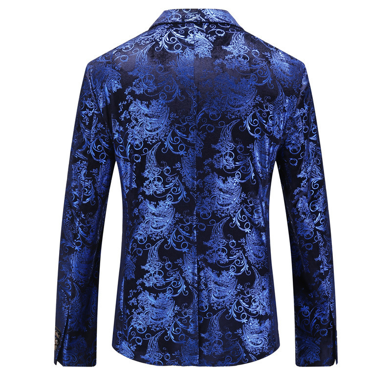 Floral Gold Print Party Wedding Blazer Men Designer Notched Slim Fit Suit Jacket Plus Size Top Quality Male Prom Stage Costume