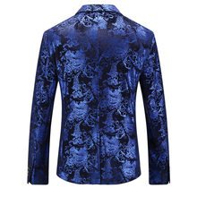 Floral Gold Print Party Wedding Blazer Men Designer Notched Slim Fit Suit Jacket Plus Size Top Quality Male Prom Stage Costume(China)