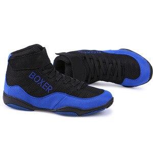 Zapatos de lucha de boxeo profesional para hombre y mujer, botas de combate suaves y transpirables para entrenamiento de boxeo, talla 33-47