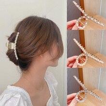 Woman Metal Pearl Hairpin Elegant Hair Accessories Women Hair Claws Clips Ladies Fashion Headwear Barrette Chic Hairgrip Crystal