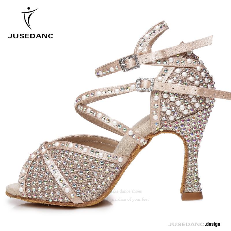 Dance shoes Rhinestones Ballroom Dancing Shoes For Girls  Jazz Sneakers Girls Latin Dance Shoes Tango Dance Shoe JuseDanc