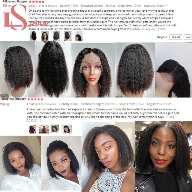 LS HAIR 13x4 peruka z krótkim bobem ciało koronkowa fala przodu peruki z ludzkich włosów dla czarnych kobiet 100% ludzkich włosów Remy włosy Bob peruki
