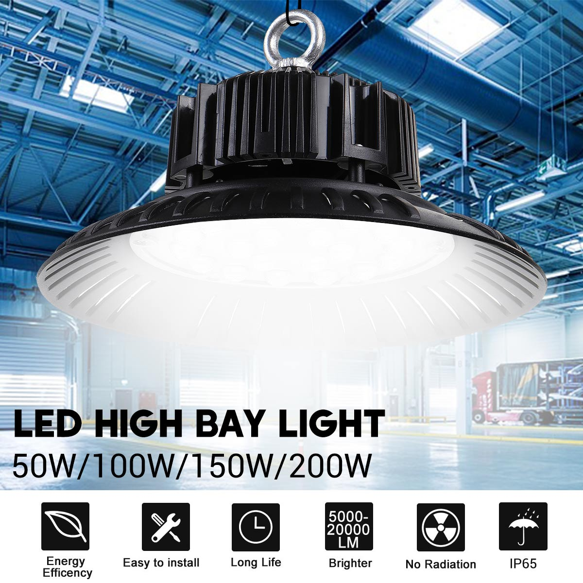 Led High Bay Light Waterproof IP65 Warehouse Workshop Garage Industrial Lamp Stadium Market Airport LED Garage Light