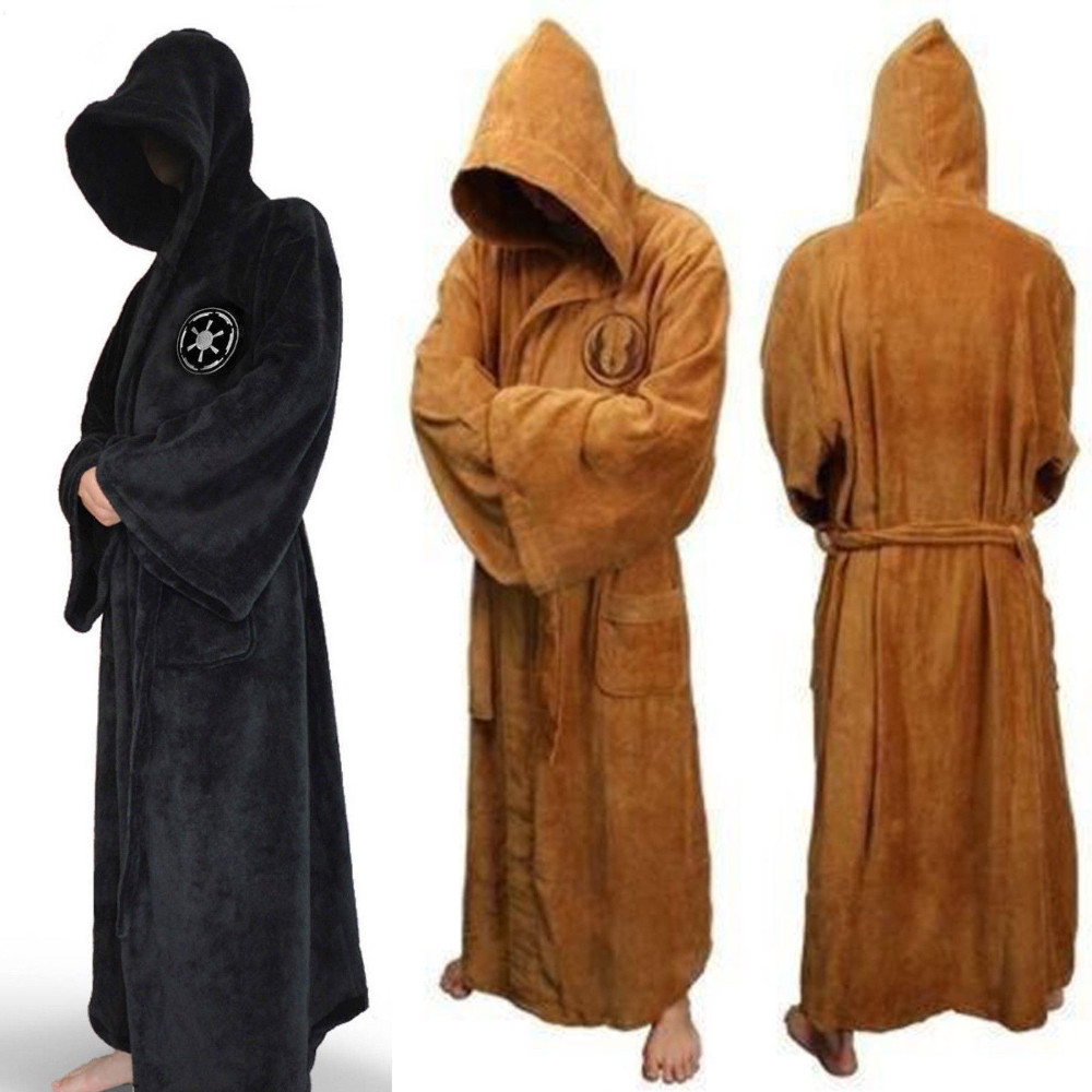 Male Flannel Robe Male With Hooded Thick Star Wars Dressing Gown Jedi Empire Men's Bathrobe Winter Long Robe Mens Bath Robe