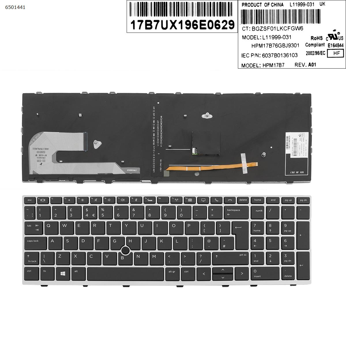 UK New Replacement Keyboard for HP EliteBook 850 G5 755 G5 850 G6 Laptop Silver Frame Black Key with Backlit Pointer