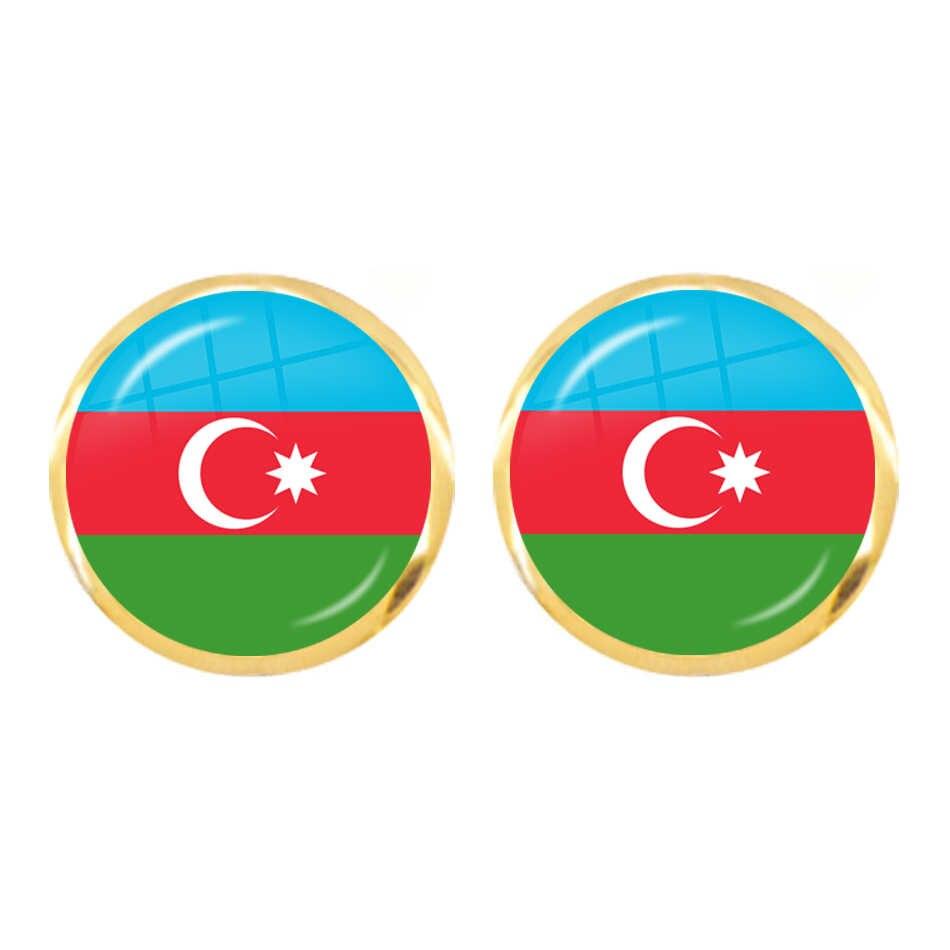 Malta Zambia Zimbabwe łotwa Armenia azerbejdżan Arabia saudyjska zea maroko flaga narodowa szkło Cabochon stadniny kolczyki dla kobiet