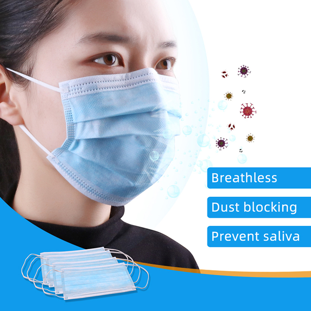 Fast Delivery Disposable Face Masks  3 Layers Nonwoven 50 PCS Elastic Soft Anti fog Breathable Face Masks Protection against