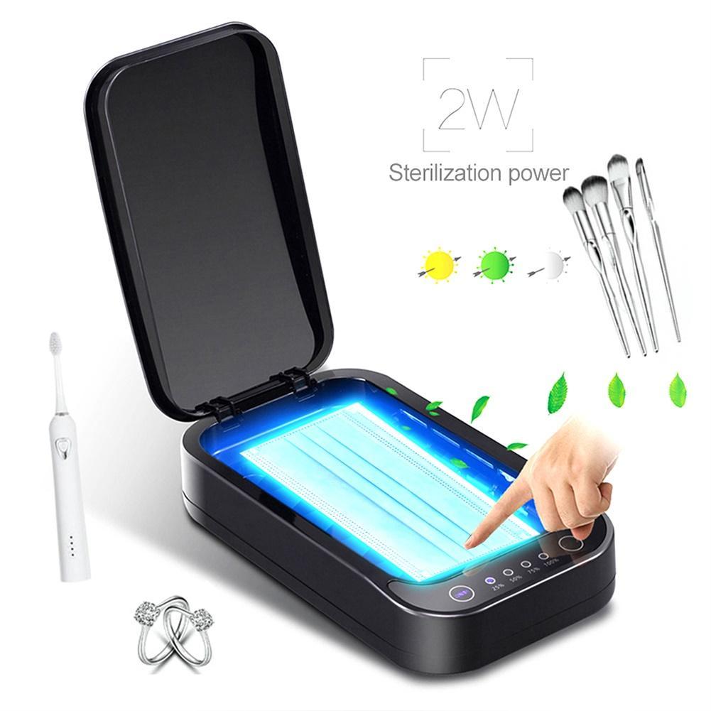 UV Disinfection Box Sanitizer Charger Prevent Flu For IPhone/Samsung Mobile Phone Headphones Mask Sterilizer Kill 99.9% Viruses