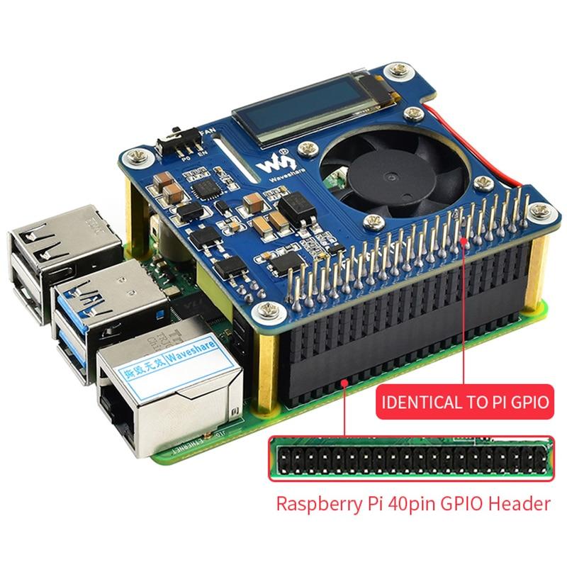 Raspberry pi 4 power over ethernet hat (b) 802.3af poe rede com ventilador de refrigeração temperatura oled para raspberry pi 3b +/4b