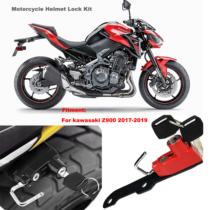Motorcycle Helmet Lock Anti-Theft For Kawasaki Z900 2017 and later Red