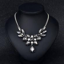 Women Clavicle Necklace Exaggerated Water Drops Crystal Gem Pendant Color-preserving Vacuum Plating Necklace Jewellery цена 2017