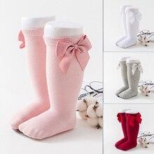 Носки для малышей осенне-зимние гольфы с бантом для новорожденных девочек детские дышащие гольфы до колена для маленьких девочек, Sokken