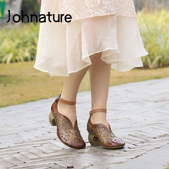 Johnature 2020 New Spring Platform Sandals Shoes Woman Genuine Leather Buckle Strap High Heels Retro Shallow Ladies Sandals