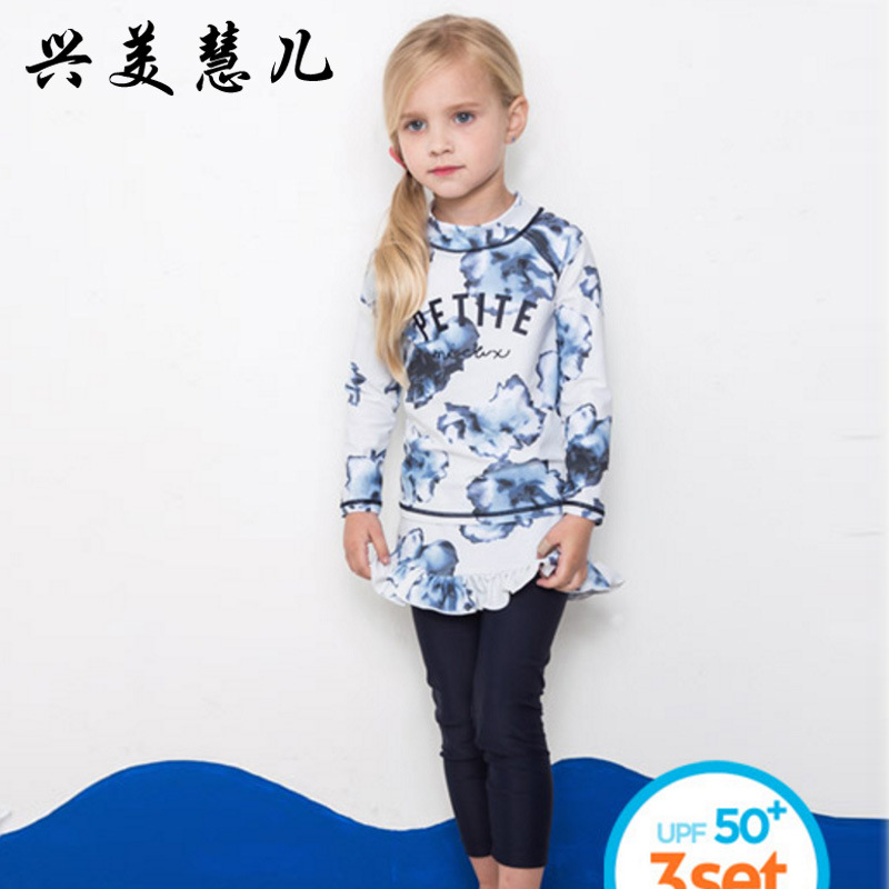 18 New Style Hot Sales Two-piece Swimsuits Send Topee Stand Collar Flounced Printed Long Sleeve Trousers Girls KID'S Swimwear