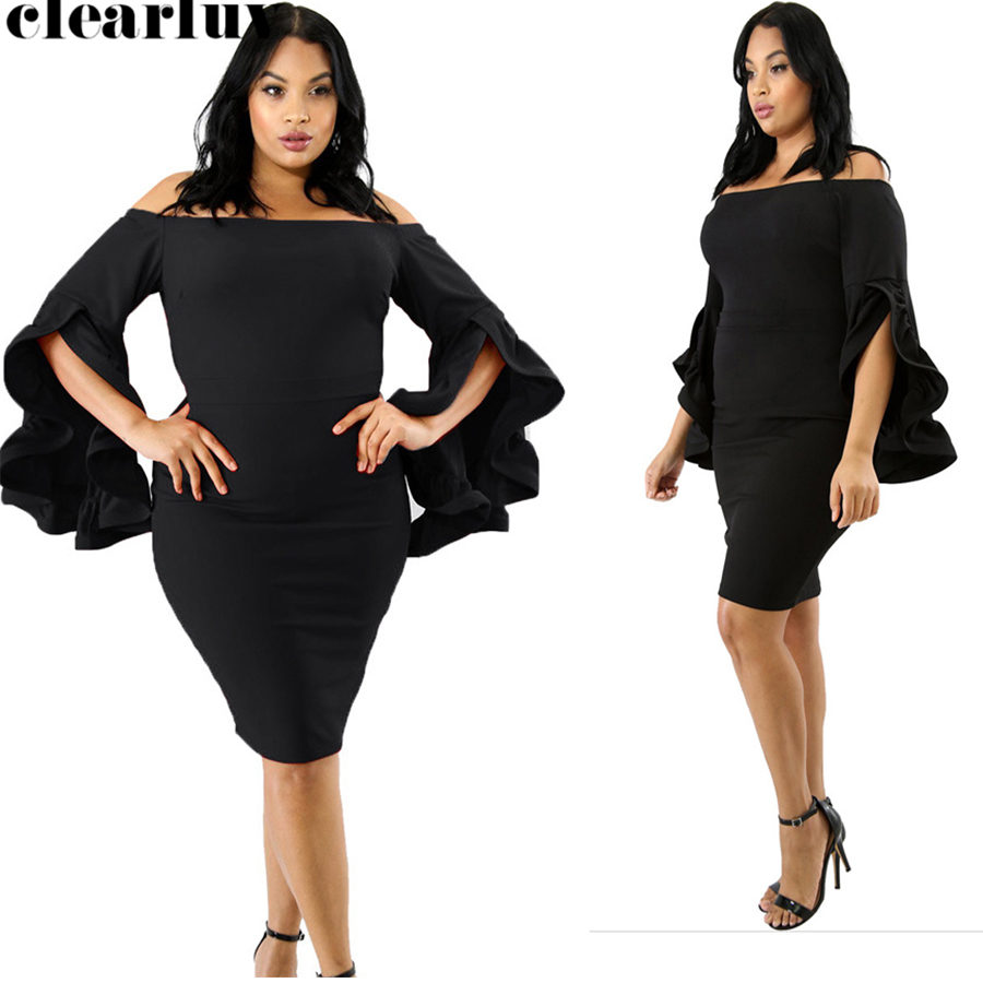 Off The Shoulder Vestidos De Gala Prom Gowns 2019 Long Sleeve Ruffles Plus Size Short Prom Dresses Tight Women Party Night T035