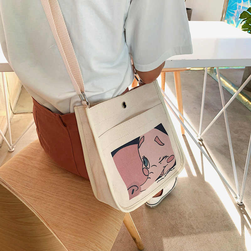 Woman Large capacity canvas Cartoon print Shoulder Bag Reusable Shopping Bags Casual Tote Hand bags For women 2019 sac a main