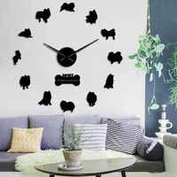 Entzückende Pommerschen Spitz Hund Geformt 3D DIY Designer Wanduhr Acryl Wand Aufkleber Mit Spiegel Effekt Uhr Für Home Decor
