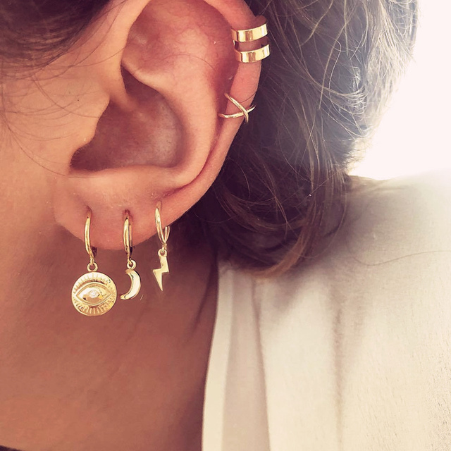 Vintage Tribal ethnique géométrique goutte balancent cerceau boucles doreilles ensemble petit foudre étoile lune Cactus oeil Cartilage boucles doreilles pour les femmes