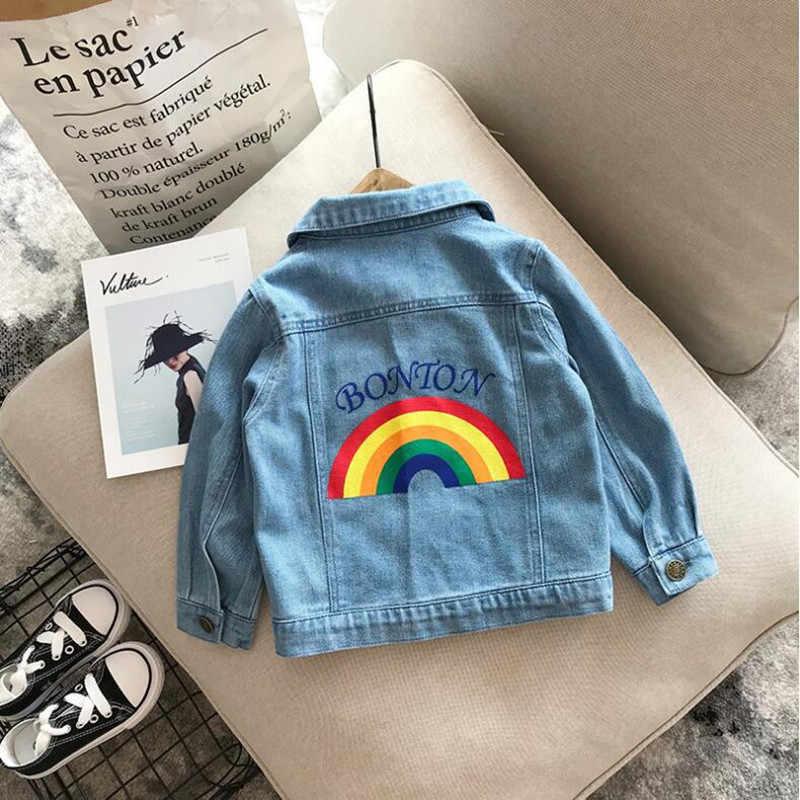 2019 New Hot Anak-anak Demin Pakaian Musim Gugur Musim Dingin Anak Bayi Rainbow Bordir Lembut Koboi Retro Mantel Anak Laki-laki Anak Perempuan Jaket Jeans CT59