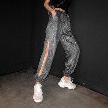 Pantalones Streetwear de danza gris oscuro con abertura lateral para mujer, Joggers de talla grande cintura alta