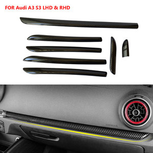 Image 1 - Right Hand Drive RHD Center Console Door Panel Carbon Fiber Trim For Audi A3 S3 RS3 2014 2018 Car Interior Moldings Cover Trims