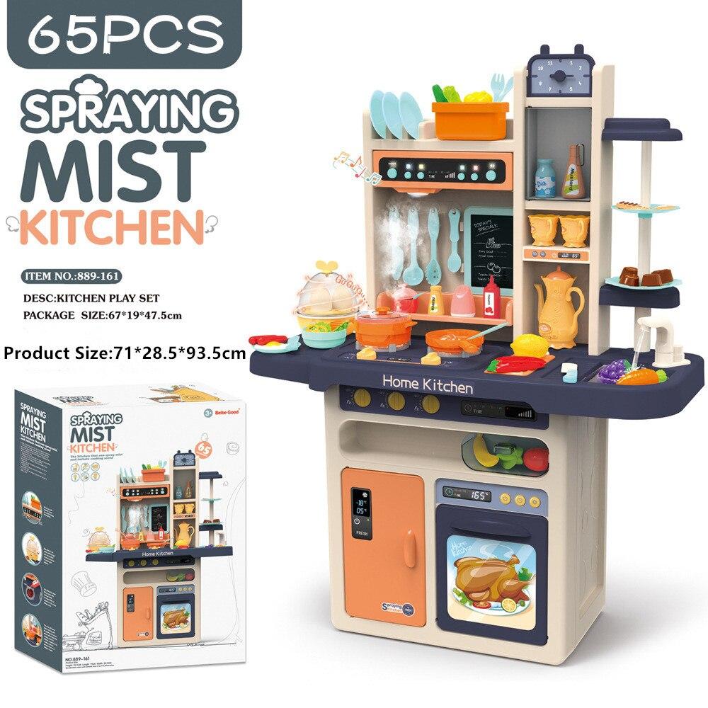 The Music Kids Kitchen Pretend Play Kitchen Toys Child Toys Simulation Pretend Play Kitchen 888-16 Pink Blue 93cm Tall 65pcs