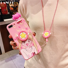 LANCHE 3D Cute Sailor Moon Pink Silicone Phone Case for