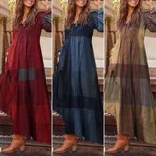 Элегантное женское платье-рубашка макси размера плюс ZANZEA Losse с длинным рукавом Vestidos модное осеннее винтажное женское платье в клетку 5XL