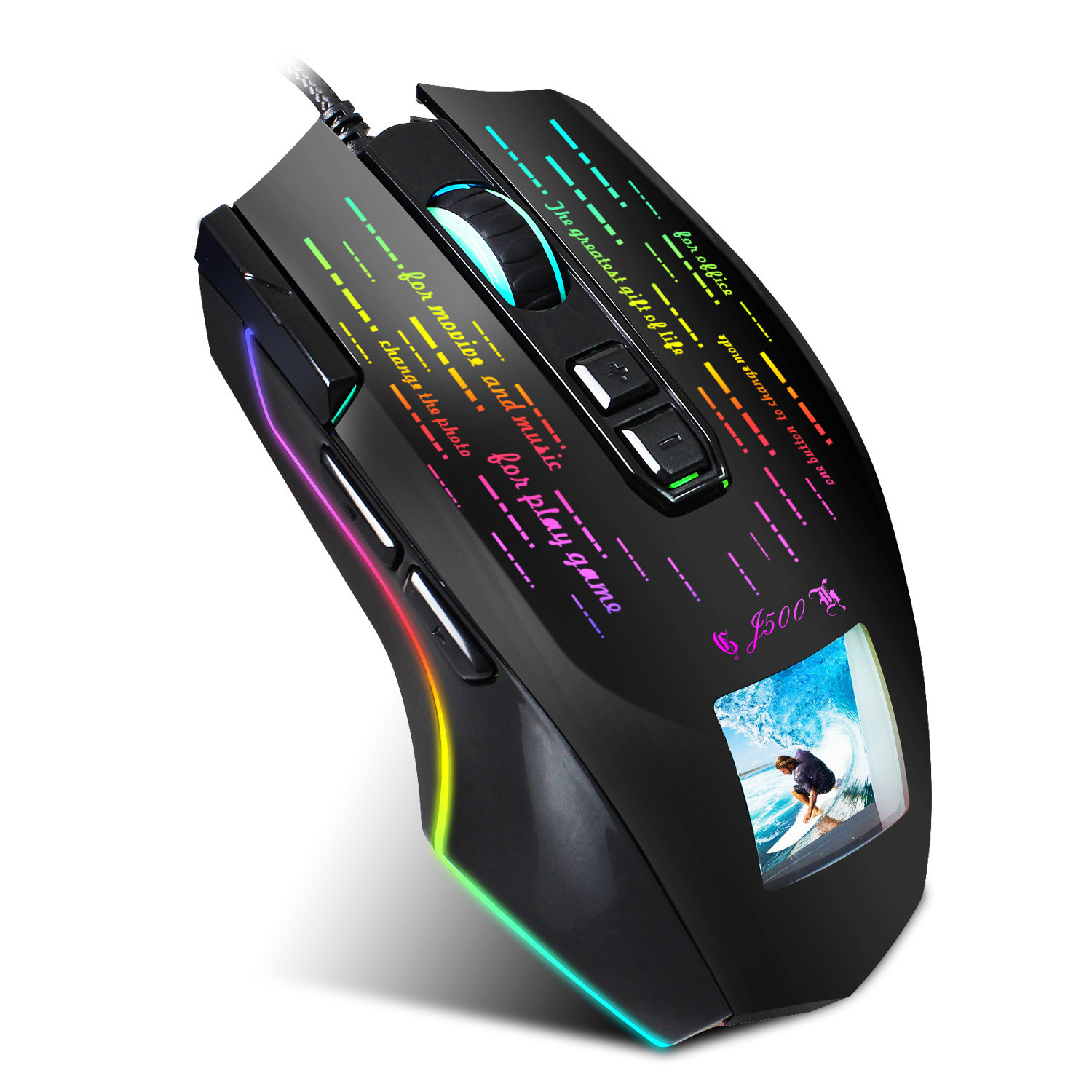 7 Button Wried Optical Mice RGB Gaming Mouse Gamer Programming <font><b>5000DPI</b></font> USB Computer Backlit Breathe LED for PC Laptop image